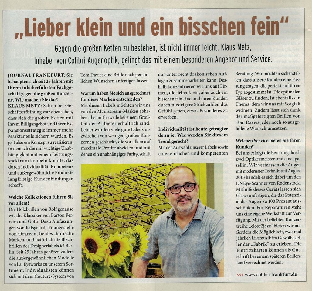 Interview Journal Frankfurt Nr.13 vom 6.6.2014